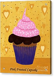 Pink Frosted Cupcake Acrylic Print by Barbara Griffin