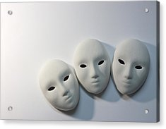 Plaster Masks In Studio Acrylic Print by Kantapong Phatichowwat