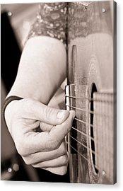 Playing Guitar Acrylic Print by Tom Gowanlock
