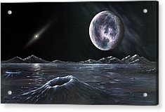 Pluto Seen From Charon, Artwork Acrylic Print by Richard Bizley