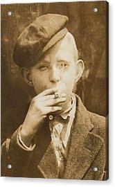 Portrait Of A Boy Smoking, Original Acrylic Print by Everett