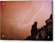 Praying Monk Camelback Mountain Lightning Monsoon Storm Image Tx Acrylic Print