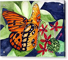Acrylic Print featuring the painting Precocious Butterfly by Debi Singer