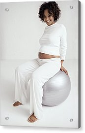 Pregnant Woman With Birthing Ball Acrylic Print by Ian Boddy