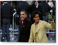 President And Michelle Obama Wave Acrylic Print by Everett