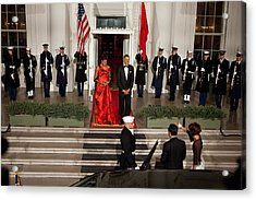 President And Michelle Obama Welcome Acrylic Print by Everett