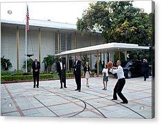 President Barack Obama Shoots Hoops Acrylic Print by Everett