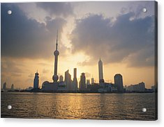 Pudong Skyline, Seen Acrylic Print by Justin Guariglia