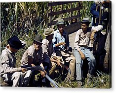 Puerto Rico. Sugar Cane Workers Resting Acrylic Print by Everett