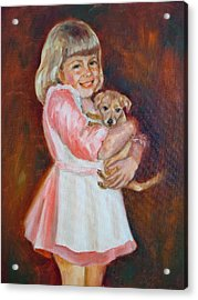 Puppy Love Acrylic Print by Holly LaDue Ulrich