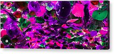 Purple Pink And Green Glass Flowers Acrylic Print by Sheila Kay McIntyre