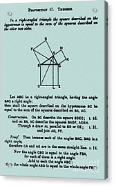 Pythagorean Theorem In English Acrylic Print by Science Source