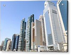 Qatars Financial Front Line Acrylic Print by Paul Cowan