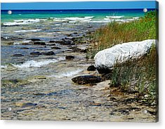 Quiet Waves Along The Shore Acrylic Print by Janice Adomeit