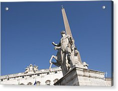 Quirinal Obelisk In Front Of Palazzo Del Quirinale. Rome Acrylic Print by Bernard Jaubert