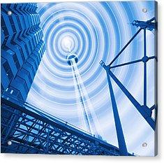 Radio Tower With Radio Waves Acrylic Print by Mehau Kulyk