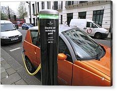 Recharging An Electric Car Acrylic Print by Martin Bond