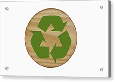 Recycling Symbol On Wood Acrylic Print by Blink Images