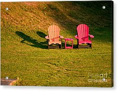 Acrylic Print featuring the photograph Red And Orange Chairs by Les Palenik