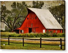 Red Barn Acrylic Print by Joan Bertucci