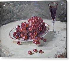 Red Grapes Acrylic Print by Ylli Haruni