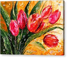 Red Tulips Acrylic Print by AmaS Art