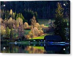 Reflex On Fushl Lake Salzburg Austria Acrylic Print by Arthit Somsakul