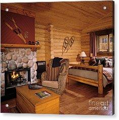 Resort Log Cabin Interior Acrylic Print