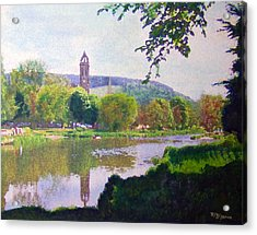 Acrylic Print featuring the painting River Walk Reflections Peebles by Richard James Digance