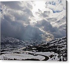Road Through A Snowy Mountain Landscape Acrylic Print by Thom Gourley/Flatbread Images, LLC