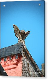 Rooftop Chained Gargoyle Statue Above French Quarter New Orleans Film Grain Digital Art Acrylic Print