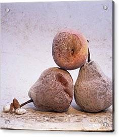 Rotten Pears And Apple. Acrylic Print by Bernard Jaubert