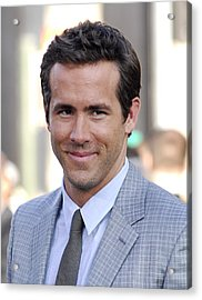 Ryan Reynolds At Arrivals For Green Acrylic Print by Everett