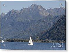 Sailing Boat And Mountain Acrylic Print by Mats Silvan