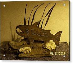 Salmon On Driftwood Acrylic Print by JP Giarde
