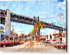 San Francisco Bay Bridge At The Embarcadero . 7d7706 Acrylic Print