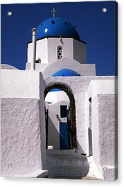 Acrylic Print featuring the photograph Santorini Church Greece by Colette V Hera  Guggenheim
