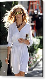 Sarah Jessica Parker Wearing A Halston Acrylic Print by Everett