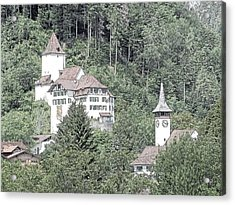 Schloss Wimmis And Church Switzerland Acrylic Print by Joseph Hendrix