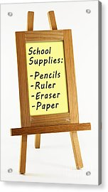 School Supplies Acrylic Print by Blink Images