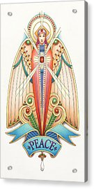 Scroll Angels - Pax Acrylic Print by Amy S Turner