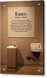 Segregated Water Fountains On Display Acrylic Print by Everett