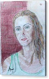 Acrylic Print featuring the drawing Self Portrait by Anna Ruzsan