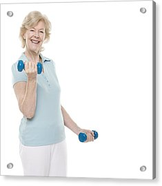 Senior Woman Lifting Weights Acrylic Print by