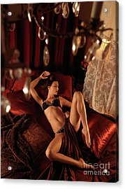 Sexy Young Woman Lying In Bed Acrylic Print by Oleksiy Maksymenko