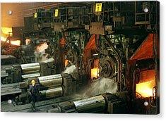 Sheet Mill Processing Molten Metal Acrylic Print by Ria Novosti