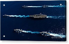 Ships From The John C. Stennis Carrier Acrylic Print by Stocktrek Images