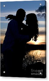 Silhouette Of Romantic Couple Acrylic Print