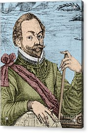 Sir Francis Drake, English Explorer Acrylic Print by Photo Researchers, Inc.