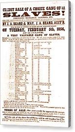 Slave Auction Notice Acrylic Print by Photo Researchers, Inc.
